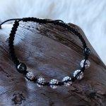 Moon-Bracelet silver 6 Swarovski-Kugeln, Faden schwarz, CHF 25.00